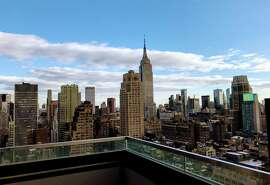 The Manhattan skyline seen from the top floor of the brand new Aliz hotel on West 40th Street.