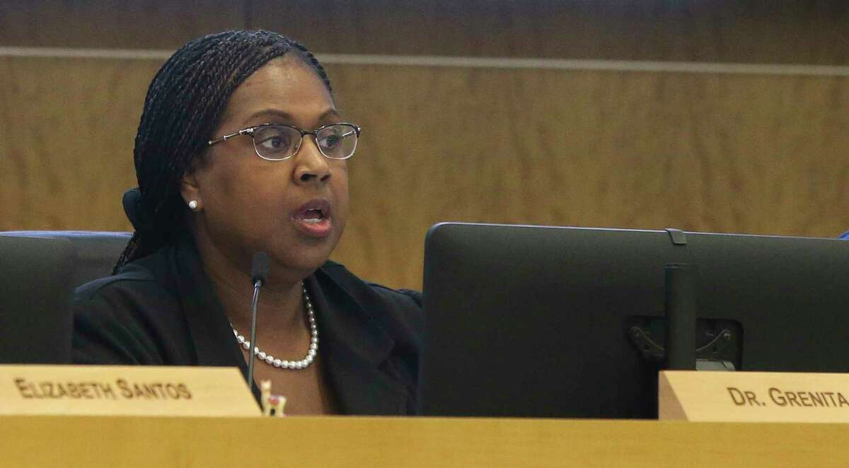 Houston Independent School District Interim Superintendent Dr. Grenita Lathan speaks her opinion during a board meeting discussing potentially seeking outside partners to run several long-struggling schools on Thursday, Dec. 13, 2018, in Houston.
