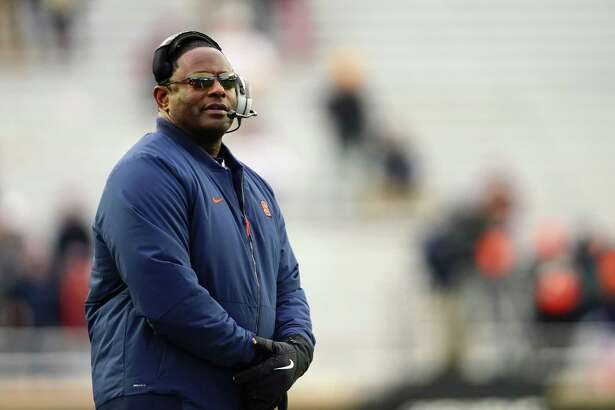 CHESTNUT HILL, MA - NOVEMBER 24: Head coach Dino Babers of the Syracuse Orange looks on during the game against the Boston College Eagles at Alumni Stadium on November 24, 2018 in Chestnut Hill, Massachusetts. (Photo by Omar Rawlings/Getty Images)