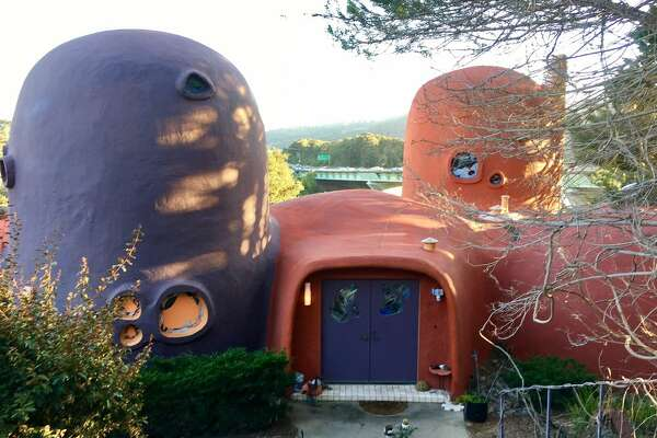 """Hillsborough Flinstone House Constructed by architect William Nicholson in 1976, the Flinstone house built to experiment with new building materials and techniques. The home is a favorite of I-280 rubberneckers and fans of the 1960s animated television series """"The Flinstones."""" The home was purchased in 2017 by a private buyer, so it's best viewed while cruising down I-280."""
