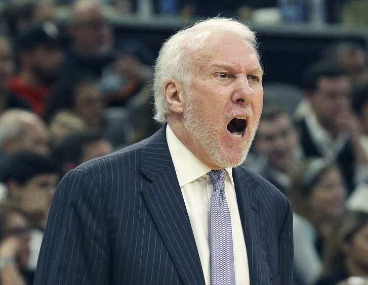 Coach Gregg Popovich protests a call as the Spurs host the Clippers at the AT&T Center on December 13, 2018.