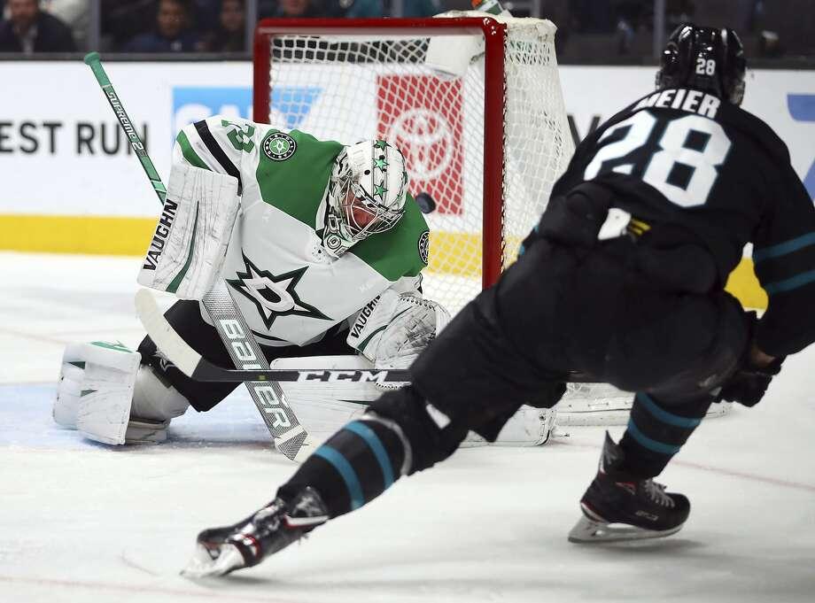 The Sharks' Timo Meier scores past the Stars' Anton Khudobin in the third period Thursday. Photo: Ben Margot / Associated Press