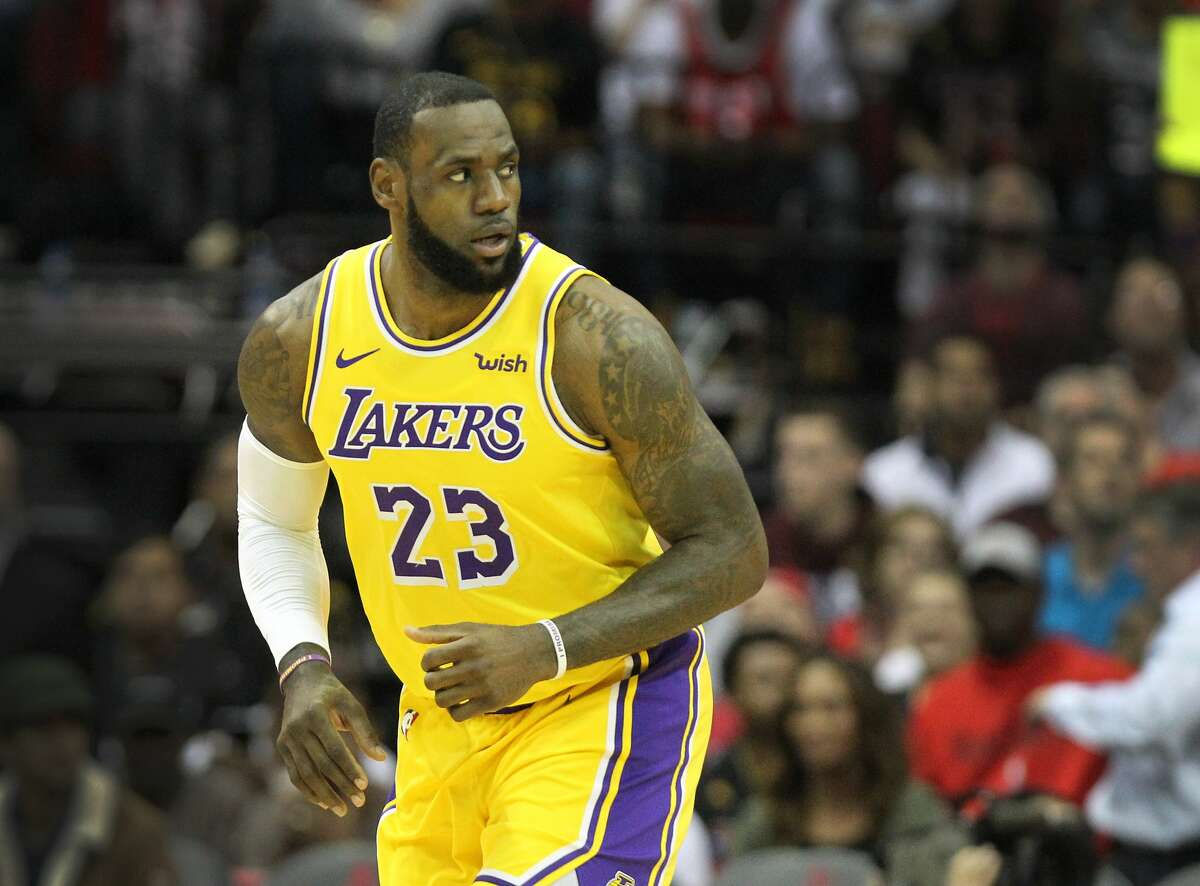 Los Angeles Lakers forward LeBron James (23) heads up court during the second half of an NBA basketball game at Toyota Center on Thursday, Dec. 13, 2018, in Houston.