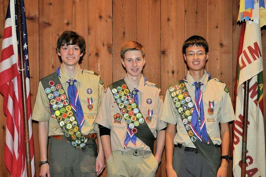 Noah Shephard, Luke Bischer and Nathaniel Kalantarfrom Boy Scouts of America Troop 763 were awarded the Eagle Scout rank at a November ceremony at the Carriage House. (Photo provided Jill Bischer)