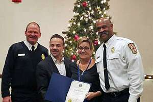 Gail Bottillo (second from the right) was presented the award by Mayor Joe Ganim on behalf of the city and the Bridgeport, Conn., Fire Department on Dec. 13, 2018.