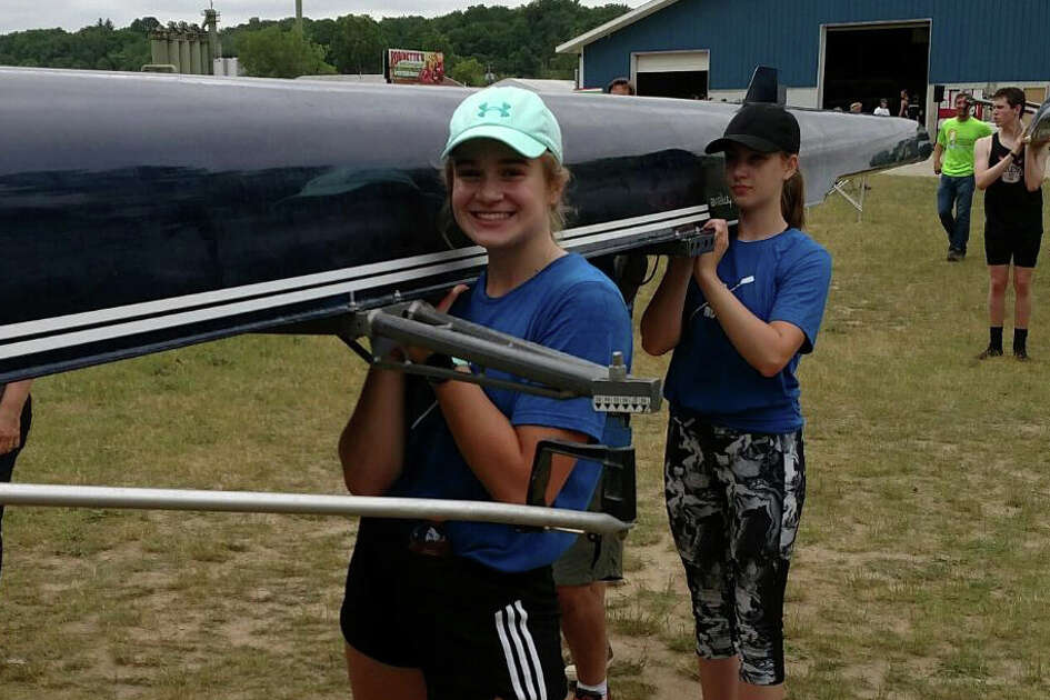 Dow High's Anna Jensen prepares for practice with the Bay City Rowing Club. (Photo provided)