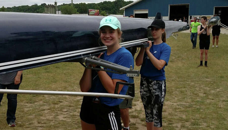 Dow High's Anna Jensen prepares for practice with the Bay City Rowing Club. (Photo provided) Photo: Photo Provided