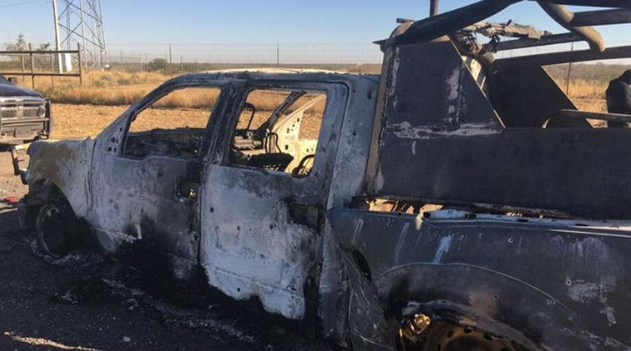 A vehicle is observed in the aftermath of a armed confrontation reported near Hidalgo, Coahuila, a town located about 32 miles northeast of Nuevo Laredo, Mexico. Photo: Courtesy