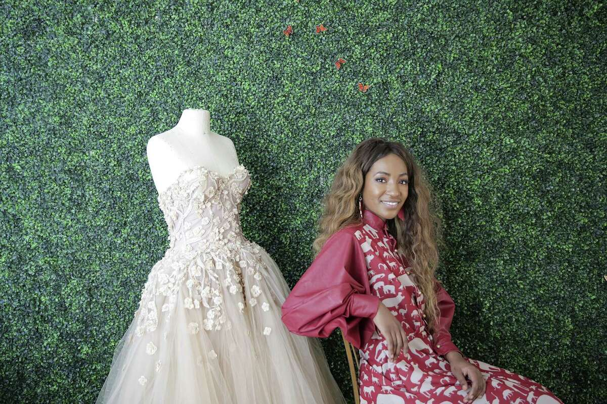Houston fashion designer Chasity Sereal is a 29-year-old mom who taught herself how to create couture garments by watching YouTube. Photographed in her shop on Monday, Dec. 3, 2018 in Houston.