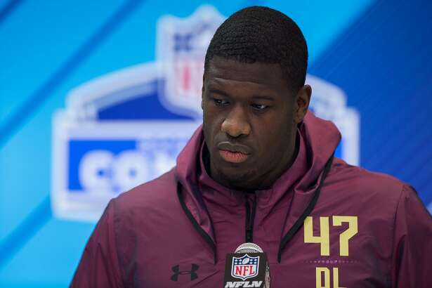 INDIANAPOLIS, IN - MARCH 03: North Carolina State defensive lineman Kentavius Street answers questions from the media during the NFL Scouting Combine on March 3, 2018 at the Indiana Convention Center in Indianapolis, IN. (Photo by Zach Bolinger/Icon Sportswire via Getty Images)