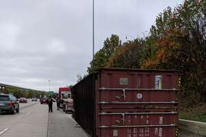 A big rig struck the Houston Avenue bridge just west of downtown Friday morning.   A big rig struck the Houston Avenue bridge just west of downtown Friday morning.