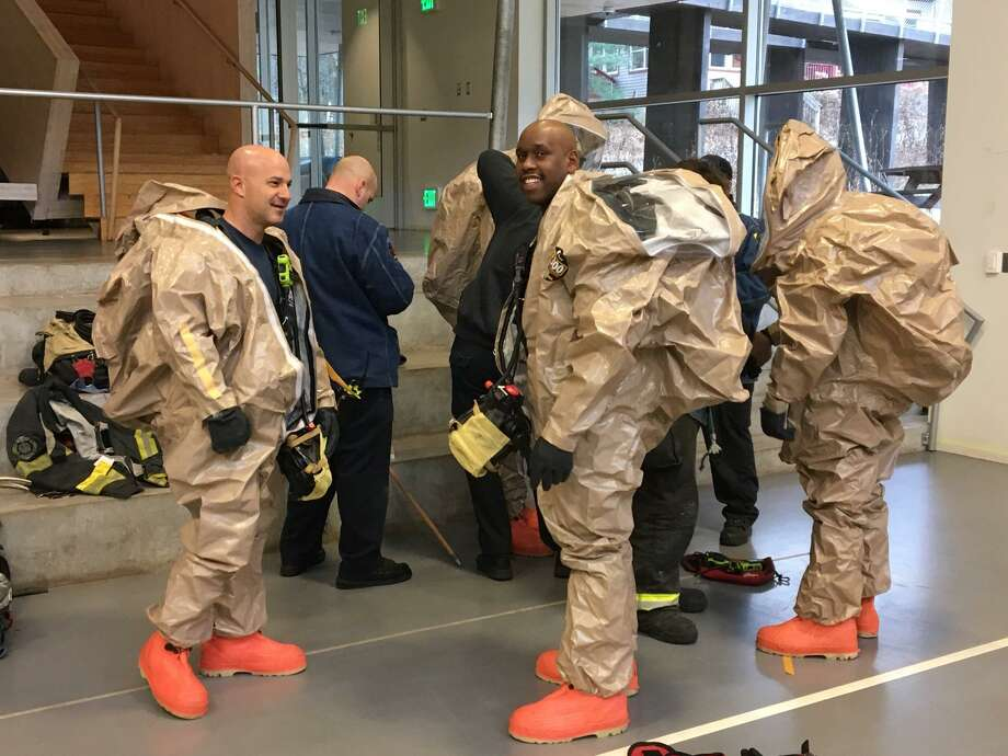 Emergency officials responded to a small chemical leak at Common Ground High School in New Haven on Friday, Dec. 14, 2018. Photo: Courtesy Of The New Haven Fire Department
