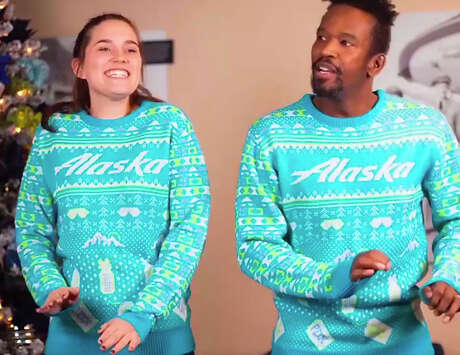December 21 is Ugly Sweater day on Alaska Airlines. Photo: Alaska Airlines