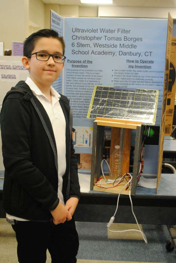 Christopher Borges is one of 10 students from the Westside Middle School Academy will compete in the regional level of the Connecticut Invention Convention. Photo: Submitted Photo / Danbury Public Schools