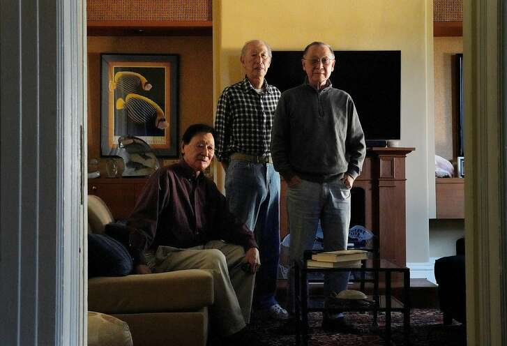 "Siblings Kazushige ""Jimmy"" Naganuma (l to r), Kazuharu ""George"" Naganuma,   Kazumu ""Tony"" Naganuma stand for a portrait at the home of  Kazumu ""Tony"" Naganuma on Wednesday, December 12,  2018  in San Francisco, Calif."