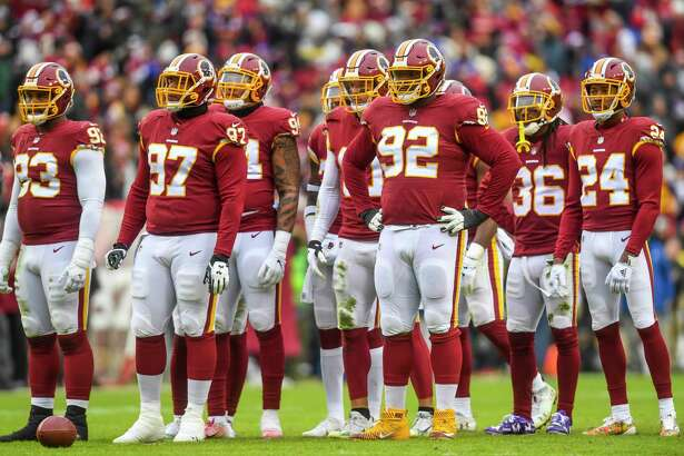 The Redskins defense in between plays during the game against the New York Giants at FedEx Field.
