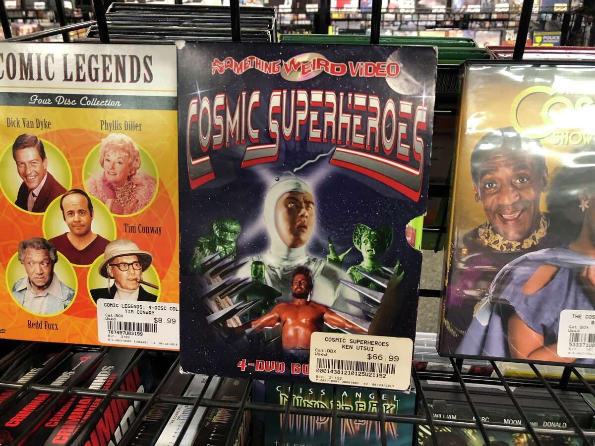 Movie Exchange, a store in Houston that buys back old DVDs, CDs and video games, offers hundreds of unique titles at its three locations in the city. The selection ranges from popular new movie releases to rare box sets of old TV shows. These are just some of the more unique items throughout the store.