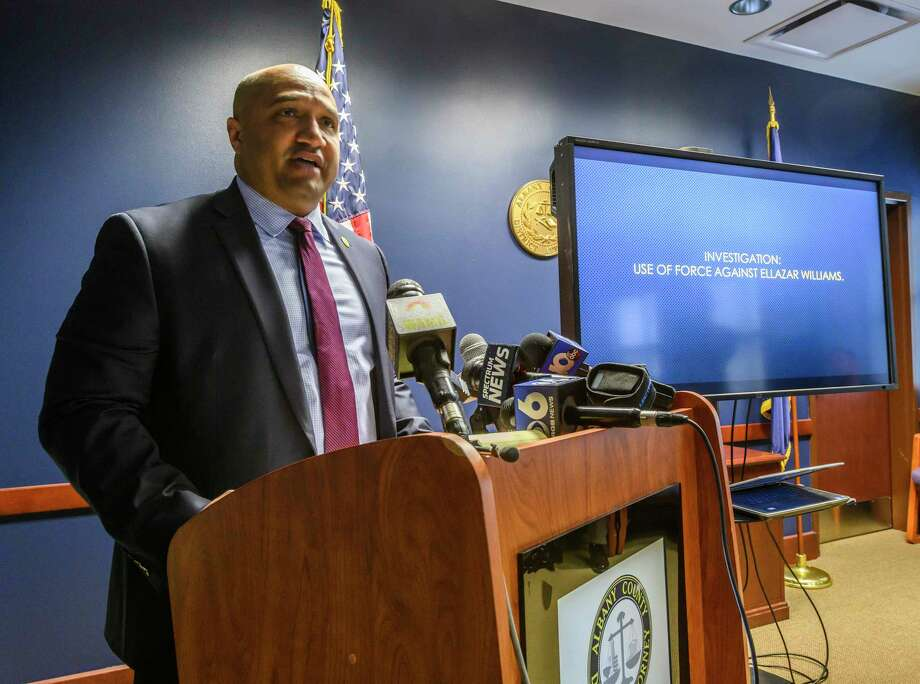 Albany County District Attorney David Soares releases information about the Ellazar Williams shooting case during a press conference at his office on Dec.14, 2018 in Albany. (Skip Dickstein/Times Union) / 20045739A