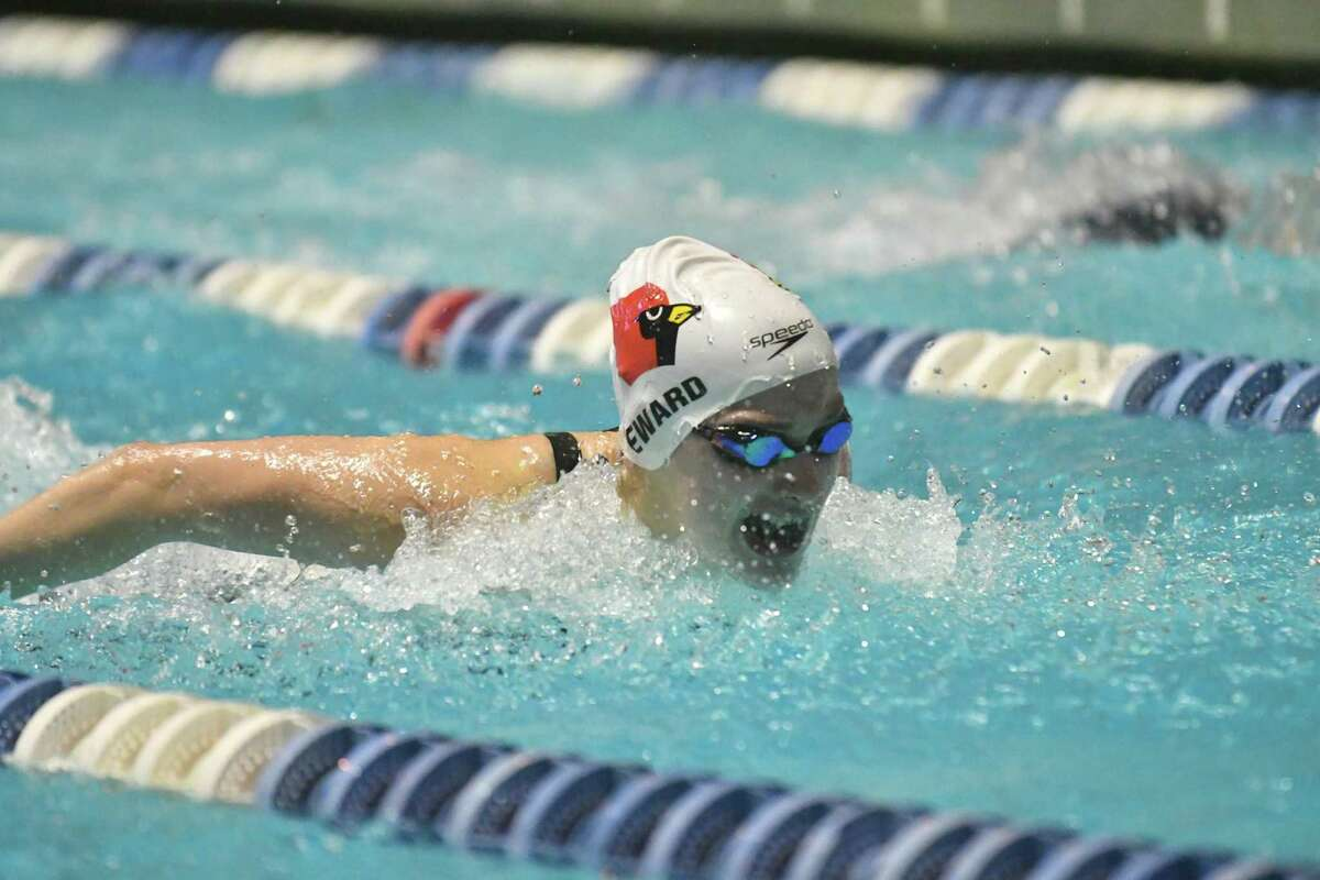 Hanna Seward of the Greenwich Cardinals swims in the 100 yd butterfly during the CIAC Open Swimming Championships on Saturday November 17, 2018, at Yale University in New Haven, Connecticut.