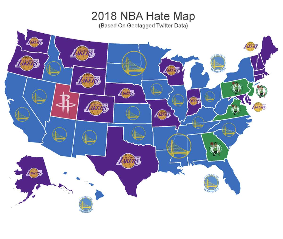 The most-hated NBA teams by state.