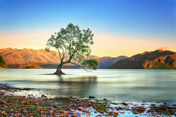 scenery view of Lake Wanaka in South New Zealand, famous town and vacation lake most popular for tourist place