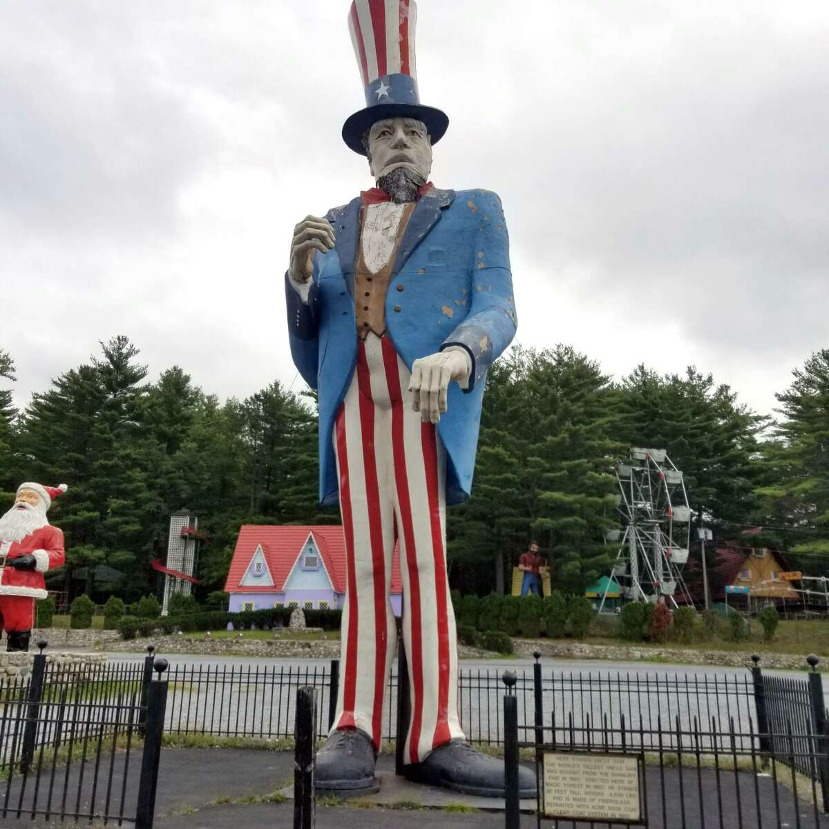 This 38-foot-tall Uncle Sam that once greeted visitors to the Danbury Fair is departing a family amusement park in Lake George, New York, and returning home Thursday to Danbury.