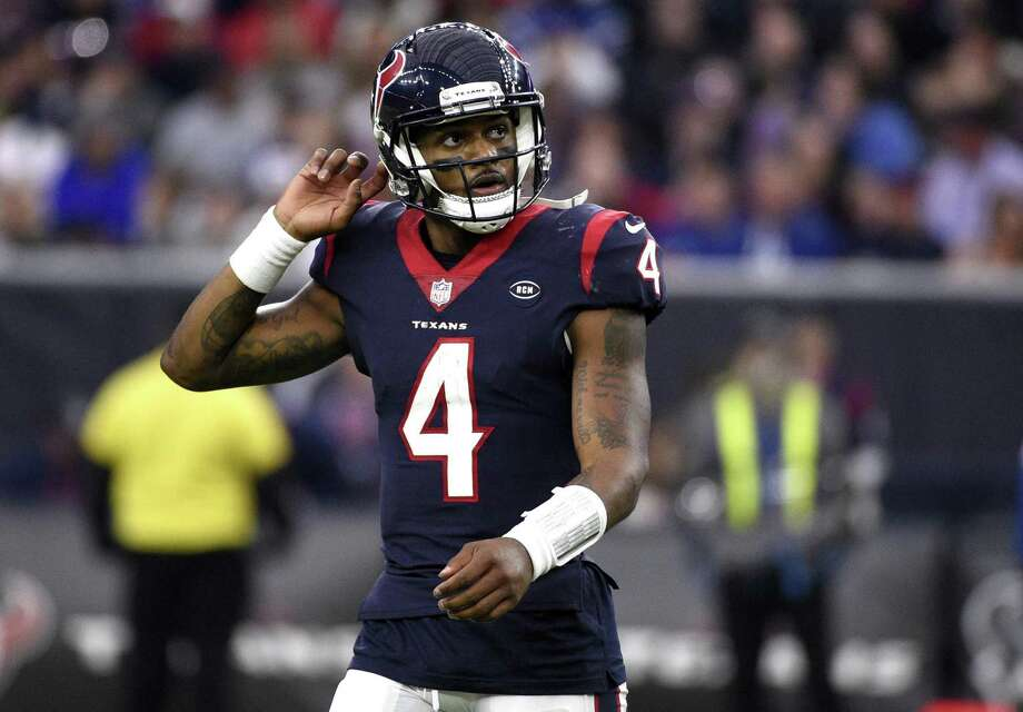 In this Sunday, Dec. 9, 2018, file photo, Houston Texans quarterback Deshaun Watson (4) looks up at the scoreboard during the second half of an NFL football game against the Indianapolis Colts, in Houston. After having their franchise-record nine-game winning streak stopped last Sunday, Watson and the Texans are focused on getting back into the win column Saturday when they play the New York Jets. Photo: Eric Christian Smith, FRE / Associated Press / Copyright 2018 The Associated Press. All rights reserved