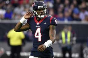 In this Sunday, Dec. 9, 2018, file photo, Houston Texans quarterback Deshaun Watson (4) looks up at the scoreboard during the second half of an NFL football game against the Indianapolis Colts, in Houston. After having their franchise-record nine-game winning streak stopped last Sunday, Watson and the Texans are focused on getting back into the win column Saturday when they play the New York Jets.