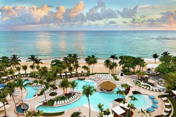 Beachside pools at El San Juan Hotel in Puerto Rico