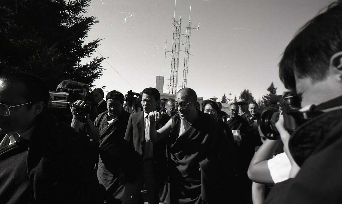 The Dalai Lama holds to hold a service at the U.S. Air Force Radar Station atop Mt Tamalpais, October 10, 1989