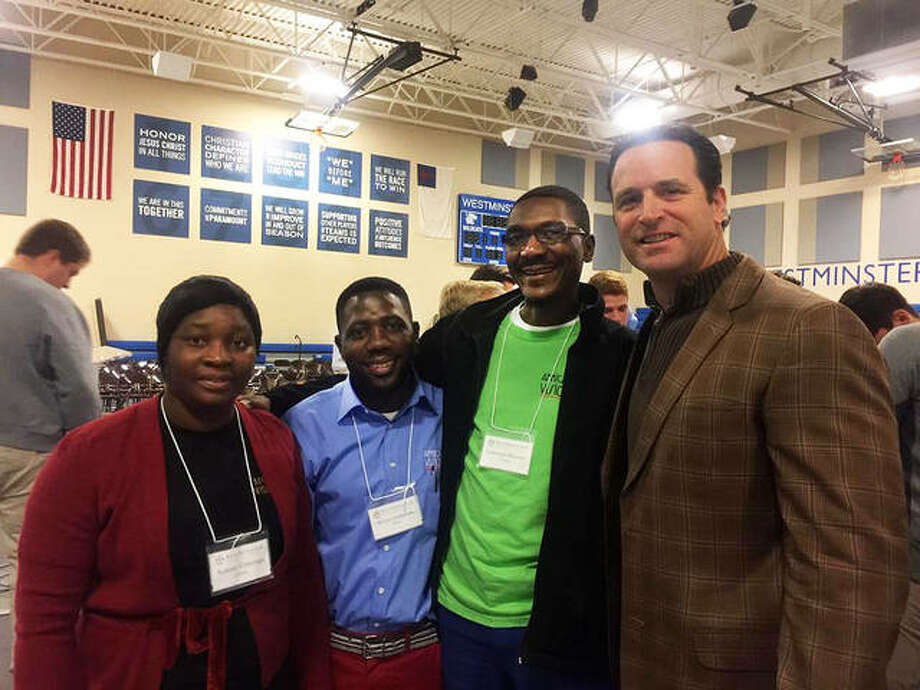 From left, Salome, Mwansa, and Lawrence meet former St. Louis Cardinals Manager Mike Matheny at Westminster Christian Academy in St. Louis. African Vision of Hope in Maryville flew the three school staff members to the U.S. part of a new partnership. Photo: For The Intelligencer