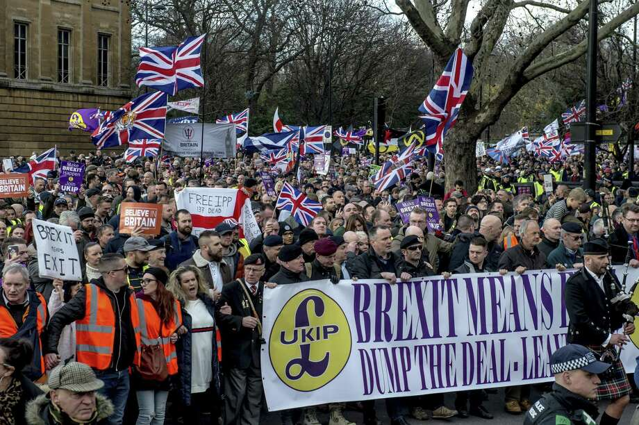 A pro-Brexit demonstration in London Sunday. After an embarrassing setback in Parliament, Prime Minister Theresa May toured European capitals on Tuesday, meeting with leaders and looking for some way to shore up support back home for her imperiled agreement on Britains withdrawal from the European Union. Photo: ANDREW TESTA /NYT / NYTNS