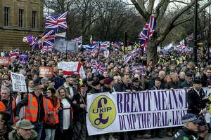 A pro-Brexit demonstration in London Sunday. After an embarrassing setback in Parliament, Prime Minister Theresa May toured European capitals on Tuesday, meeting with leaders and looking for some way to shore up support back home for her imperiled agreement on Britains withdrawal from the European Union.