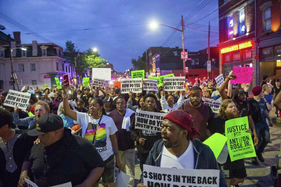 Demonstrators in June protesting the fatal police shooting of Antwon Rose Jr. march through the South Side section of Pittsburgh. The Black Lives Matter movement divides us along predictable lines. Photo: Michael M. Santiago /Associated Press / Pittsburgh Post-Gazette