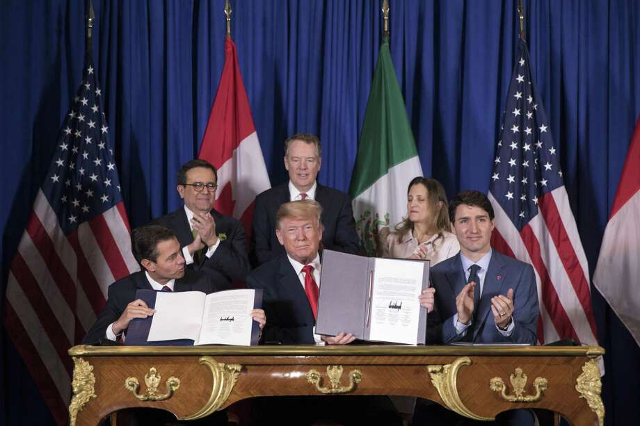 The United States-Mexico-Canada Agreement is signed Nov. 30 on the sidelines of the G-20 summit in Buenos Aires, Argentina. Congressional approval in the U.S. is not assured. Photo: Tom Brenner /New York Times / NYTNS