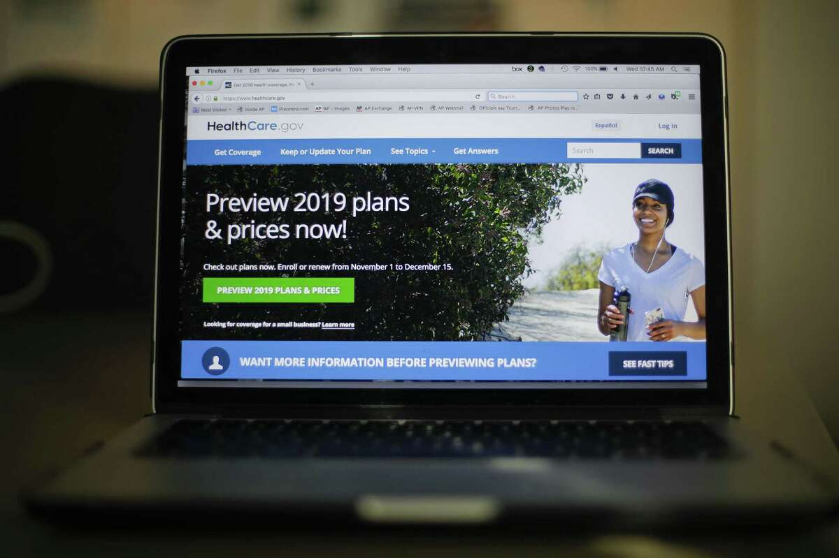 The HealthCare.gov website is photographed in Washington, Wednesday, Oct. 31, 2018. Health insurance sign-ups for the Affordable Care Act are down with just a few days left to enroll in most states, even though premiums are stable, consumers have more choice, and millions of uninsured people can still get financial help. The nation?'s uninsured rate could edge up again. (AP Photo/Pablo Martinez Monsivais)