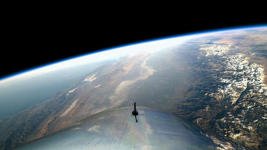 The wing of Virgin Galactic's spacecraft during its first space flight on December 13, 2018. Photo: Virgin Galactic