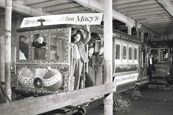 A Macy's-themed cable car stayed in the barn in December 1951 when a holiday celebration was canceled over a lawsuit.