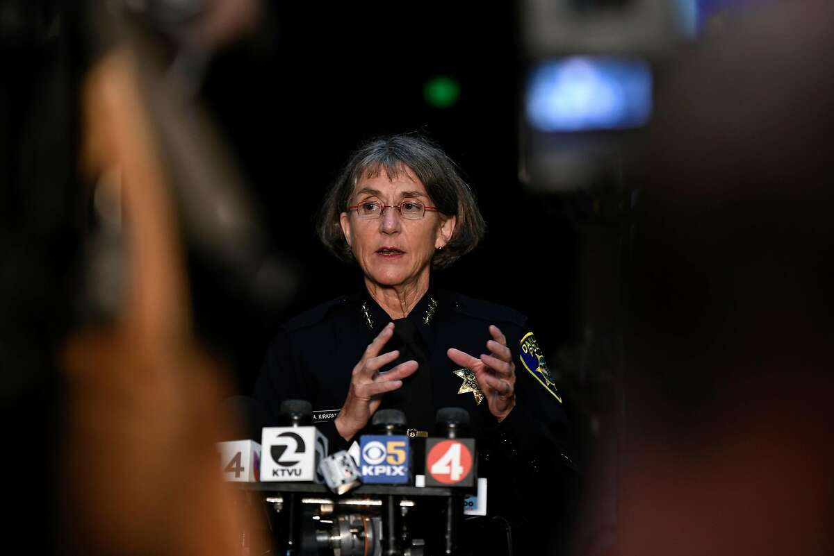 Oakland police chief Anne Kirkpatrick speaks to the media before a town hall meeting held at Laney College in Oakland, Calif., on Monday July 19, 2018.