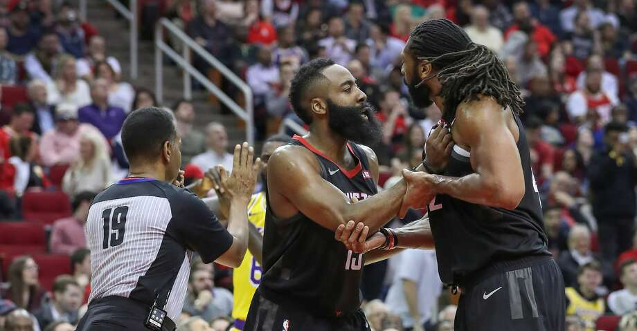 PHOTOS: Rockets game-by-game Houston Rockets guard James Harden (13) tries to calm Houston Rockets center Nene Hilario (42) down after a referee called for his second technical foul during the second half of an NBA basketball game at Toyota Center on Thursday, Dec. 13, 2018, in Houston. Browse through the photos to see how the Rockets have fared in each game this season. Photo: Steve Gonzales/Staff Photographer