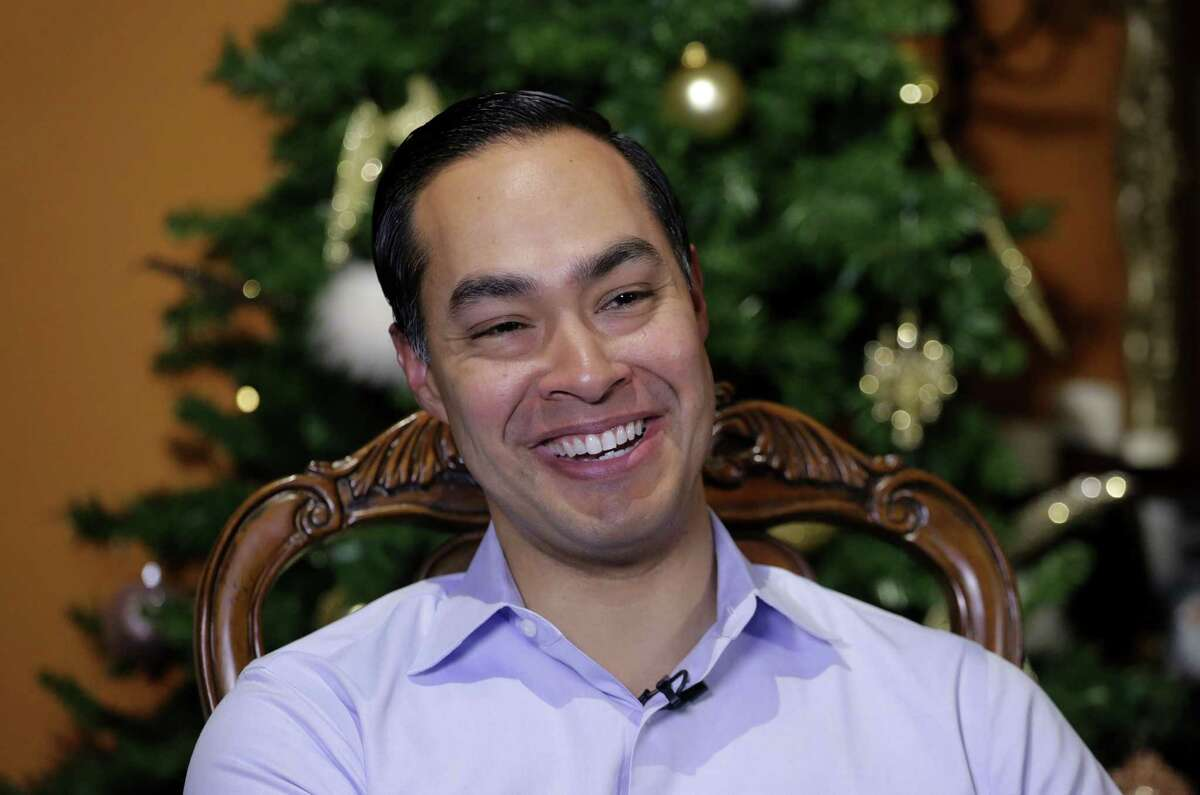 Democrat Julian Castro talks about exploring the possibility of running for president in 2020, at his home in San Antonio on Dec. 11, 2018. The announcement Wednesday gave the 44-year-old Castro a jump-start on what's likely to be a crowded Democratic primary field that has no clear front-runner. He told The Associated Press he plans to announce his ultimate decision in early January.