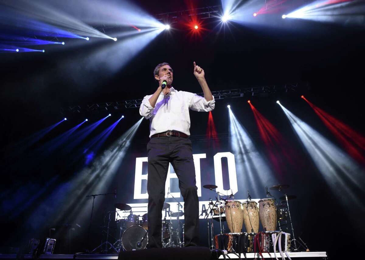 El Paso Congressman Beto O?'Rourke speaks during a rally at the Bert Ogden Arena in Edinburg on Thursday, Oct. 18, 2018. O'Rourke is running against incumbent Ted Cruz for a U.S. Senator from Texas seat. Musical groups Asleep at the Wheel, Los Tigres del Norte, Little Joe y La Familia and local mariachis provided entertainment.
