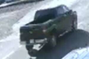 Laredo police said the black or dark four-door F-150 shown in this photo was involved in a hit-and-run that left a man and two children injured on Friday.