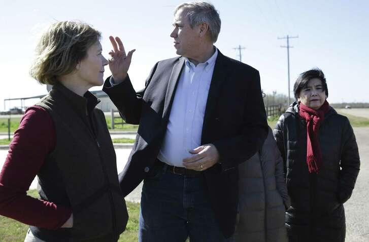 Sen. Tina Smith of MN, left to right, Sen. Jeff Merkley of OR, Sen.Mazie Hirono of Hawaii, and Rep. Judy Chu of CA, address the media following a tour of the South Texas Family Residential Center operated by U.S Department of Homeland Security, near Dilley, TX on Friday, Dec. 14, 2018.