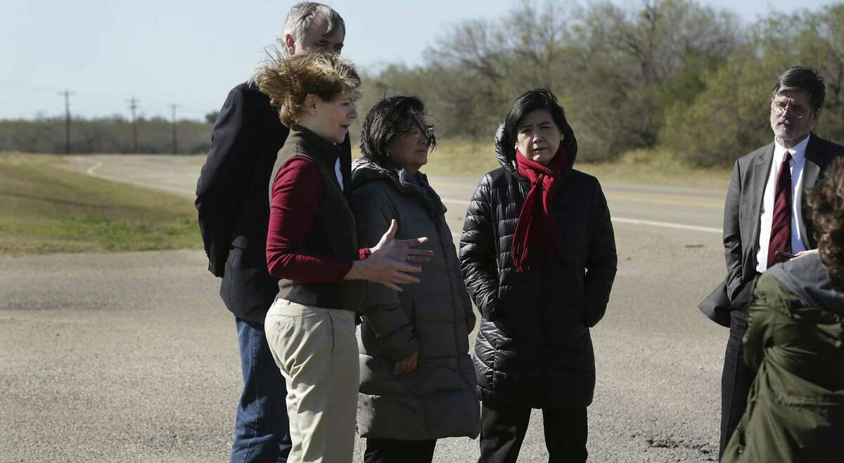 Sen. Tina Smith of MN, front to right, Sen. Jeff Merkley of OR, Sen.Mazie Hirono of Hawaii, and Rep. Judy Chu of CA, address the media following a tour of the South Texas Family Residential Center operated by U.S Department of Homeland Security, near Dilley, TX on Friday, Dec. 14, 2018.