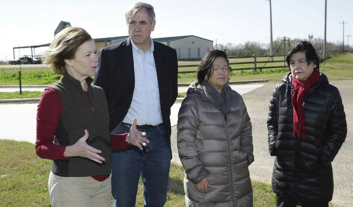 Sen. Tina Smith of MN, Sen. Jeff Merkley of OR, Sen.Mazie Hirono of Hawaii, and Rep. Judy Chu of CA, address the media following a tour of the South Texas Family Residential Center operated by U.S Department of Homeland Security, near Dilley, TX on Friday, Dec. 14, 2018.