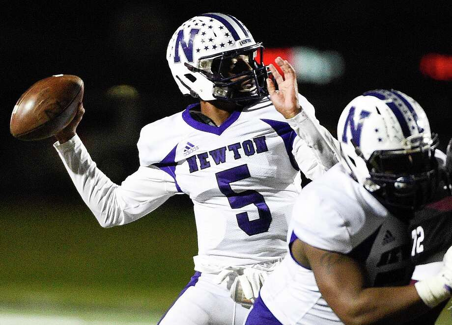 Newton quarterback Josh Foster (5) throws a pass during the second half of a 3A State semi-final high school football playoff game against East Bernard, Friday, Dec. 14, 2018, in New Caney, TX. Newton won the game 21-14. Photo: Eric Christian Smith, Contributor