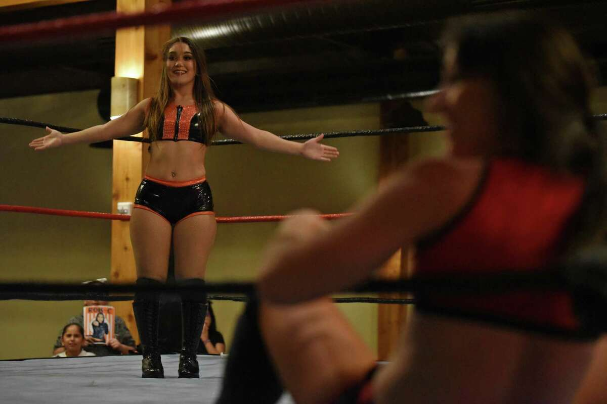 """Laredo wrestler Rok-C was defeated by AAW women's champion Kylie Rae via submission Thursday night at Laredo Wrestling Alliance's """"Who Run This Motha"""" all-women's wrestling event."""
