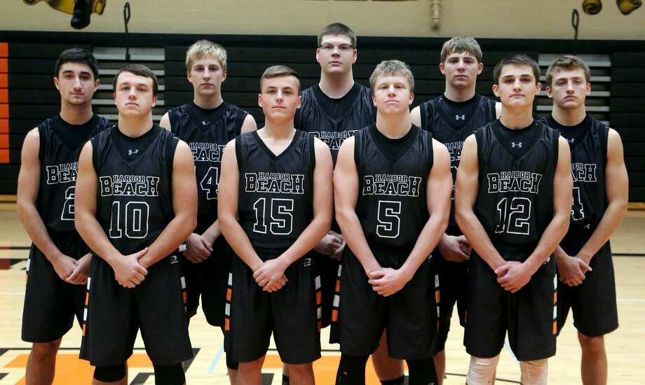 Members of the Harbor Beach boys varsity basketball team are (front row from left) Devin Finkel, Ylann Pinel, Devin Pfaff and Michael Anderson (back row) Garrison Booms, Mason Jahn, Evan Smaglinski, Parker Jahn and Nathan Siemen. Photo: Paul P. Adams/Huron Daily Tribune