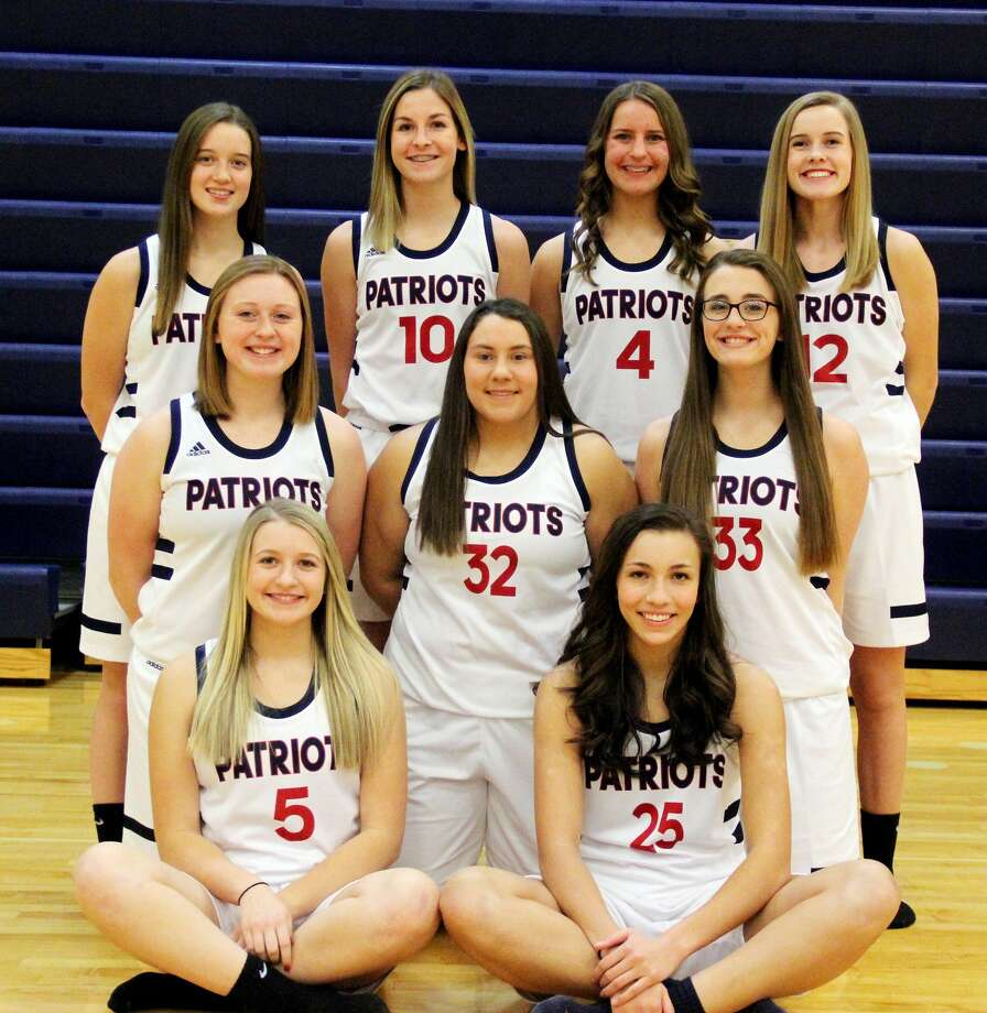 Members of the Unionville-Sebewaing Area varsity girls basketball team are (front row from left) Nichole Schember, and Rylee Zimmer (middle row) Brynn Polega, Delanie Pavlichek and Alexandra LaLonde (back row) Maci Montgomery, Grace Williamson, Chelsea Bolzman and Danielle Vogel. Photo: Mike Gallagher/Huron Daily Tribune
